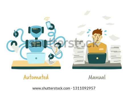 Сoncept of automated and manual labor. RPA. Robotic process automatisation. Confronting the robot and man. Vector illustration Stock photo ©