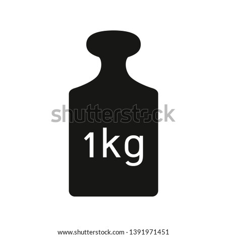 One kilogram weight icon. Weight 1 kg black metal cargo sign isolated on white background. Vector illustration