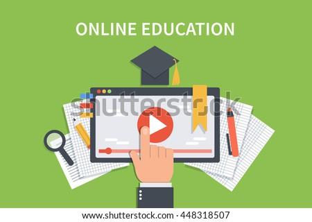 Online education concept banner. Vector flat illustration for web banner, infographics, hero images.