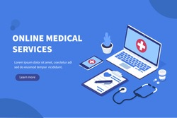 Online medical concept banner with characters. Can use for web banner, infographics, hero images. Flat isometric vector illustration.