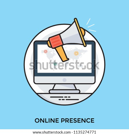 Online presence management concept vector icon