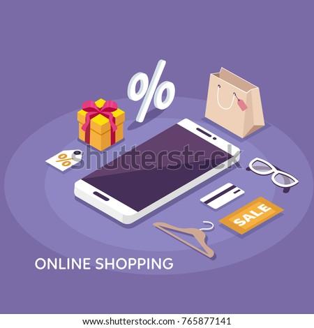 Online shopping concept banner. Flat isometric vector illustration.
