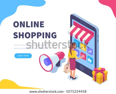 Online shopping concept banner with characters. Can use for web banner, infographics, hero images. Flat isometric vector illustration isolated on white background.