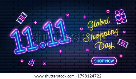 11.11 Online Shopping Day Neon sign, sale poster or flyer design. Singles day sale banner. Global shopping world day, vector illustration