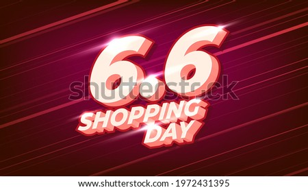 6.6 Online shopping day sale banner template on red background. Сток-фото ©