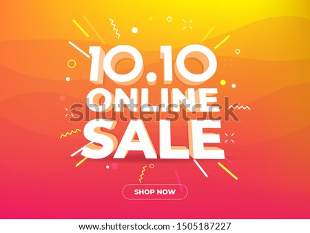 10.10 Online shopping day sale poster or flyer design. Global shopping world day Sale on colorful background. 10.10 Crazy sales online.