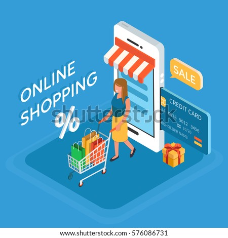 Online shopping isometric concept. Vector illustration.