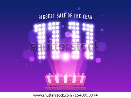 11.11 Online Shopping sale poster or flyer design. Singles day sale banner. Global shopping world day.