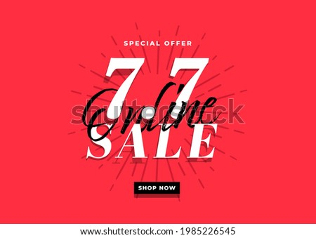 7.7 Online super sale banner template on red background. ストックフォト ©