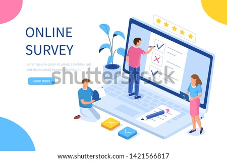 Online survey concept with characters. Can use for web banner, infographics, hero images. Flat isometric vector illustration isolated on white background.  #1421566817