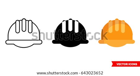 ?onstruction helmet icon of 3 types: color, black and white, outline. Isolated vector sign symbol.