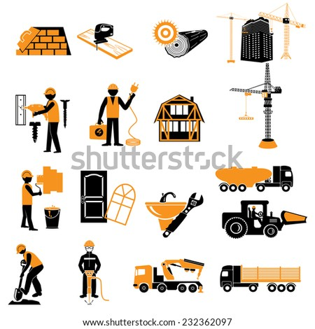 onstruction objects vector crane worker building skimmer