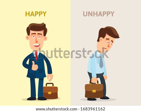 Сontrasting a happy and unhappy businessman, positive and negative person, optimist and pessimist. Successful and unsuccessful man. Vector illustration, flat design cartoon style, isolated background.