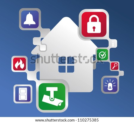 ?ontrol and protection of home concept - stock vector