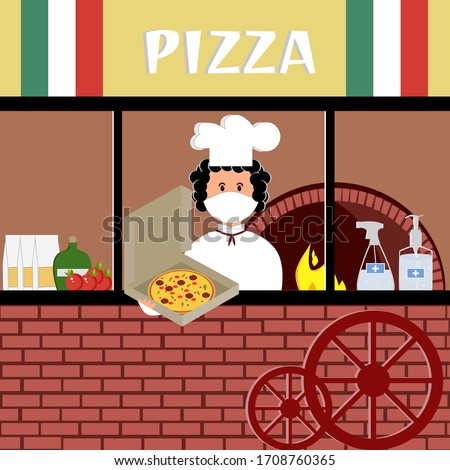 Сook of the italian pizzeria in a medical mask, pizza, antibacterial gel, disinfectant, stove, tomatoes. Vector painting art