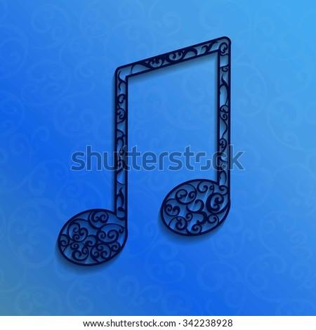 Openwork muzic on blue background Imagine de stoc ©