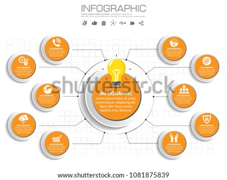 10 options circles presentation business infographics template. Orange theme.
