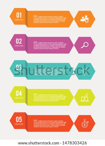 5 options steps planning infographic in flat style on the white background. Colorful vector design infographic for your best business. Vector illustration EPS.8 EPS.10