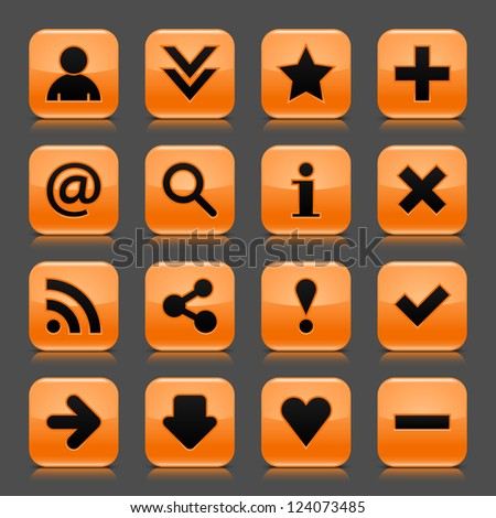 16 orange icon with basic web black sign. Glossy rounded square shape internet button with drop shadow and color transparency reflection dark gray background. Vector illustration design elements 8 eps