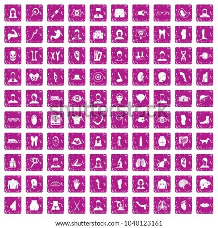 100 organ icons set in grunge