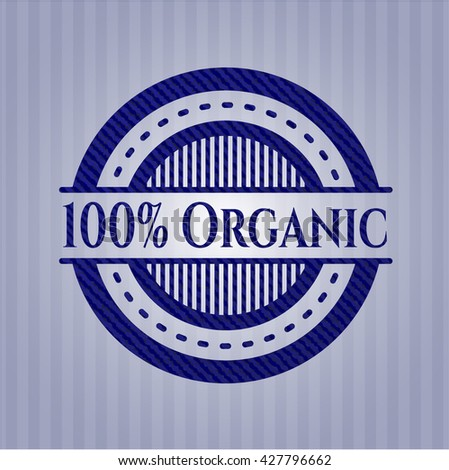 100% Organic badge with jean texture