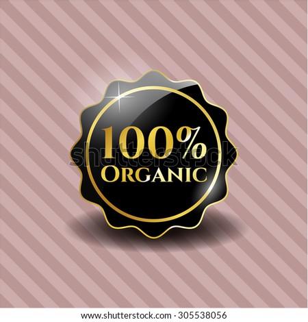 100% Organic black shiny emblem