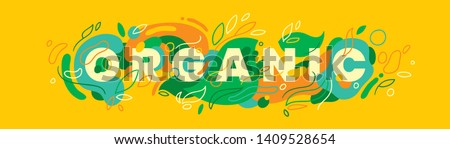 """""""Organic"""" caption banner design made of various abstract natural shapes in color. Vector illustration."""