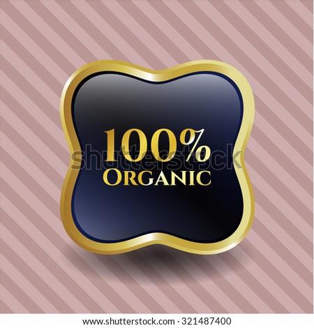 100% Organic gold badge or emblem