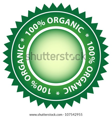 100% Organic green label. Center copy space for your text.