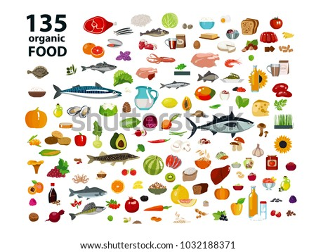 Natural Food Meat Products Vegetables Fruits Dairy