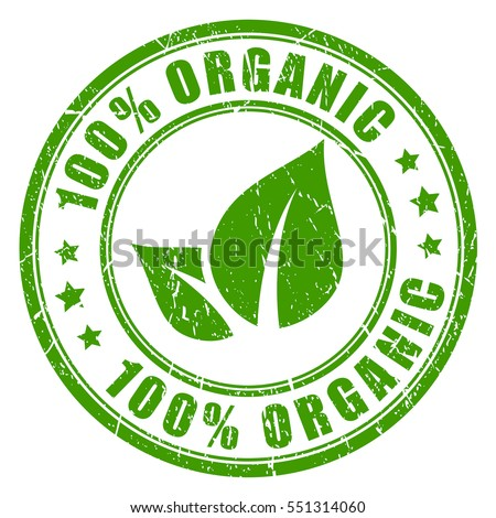 100 organic rubber vector stamp on white background
