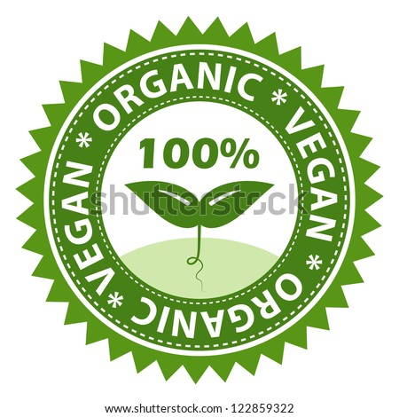 100% Organic vegan food label.