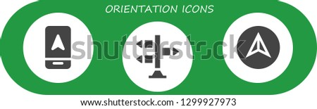 orientation icon set. 3 filled orientation icons.  Simple modern icons about  - Arrow, Signpost, Navigation