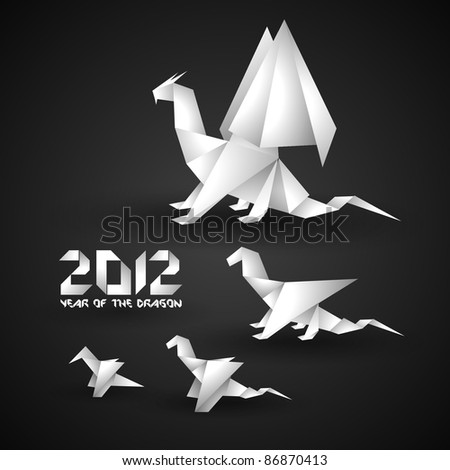 2012 origami dragon background