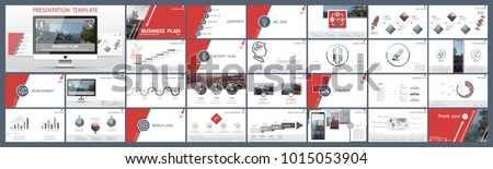 Original presentation templates.Set of red, elements of infographics, white background. Flier, postcard, corporate report, marketing, advertising, banner.Slide show, photo,slide for brochure,booklet