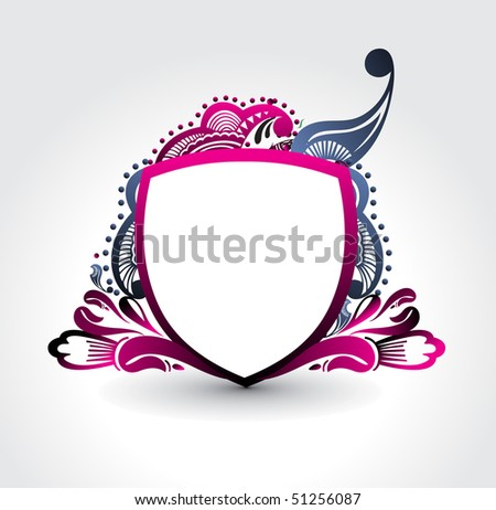 ornate heraldic shields, space of your text, vector illustration.