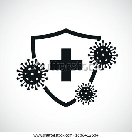 Сorona virus concept with protective antivirus shield to coronavirus, COVID-19, 2019-nCoV infection. Medical health protection shield with cross. Healthcare medicine protected boost Immunity concept