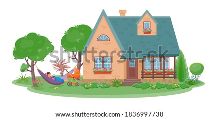 Сountryside landscape with cozy cottage surrounded by garden and flowers.Girl lays in hammock and reads book.There is baby stroller next to the woman. Color vector isolated  illustration in flat style Foto stock ©