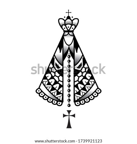 Our lady appeared Black and White Classic vector for poster design or trendy t-shirt design Stock foto ©