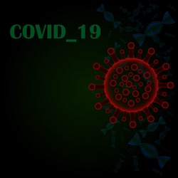outbreak of the 2019 nCoV coronavirus epidemic, a DNA cell is attacked by viruses,on green and black background  with a place for text  flat vector,illustration vector