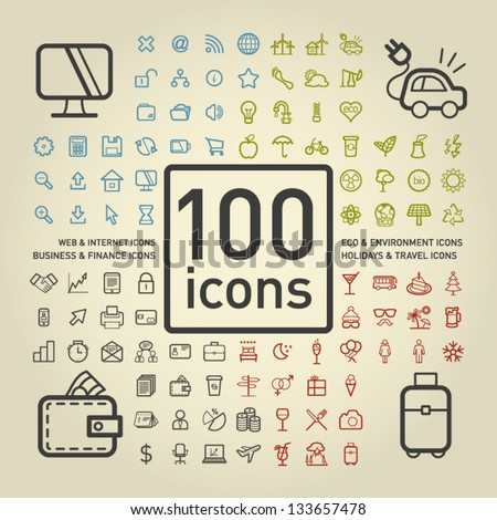 100 outlined icons of holidays
