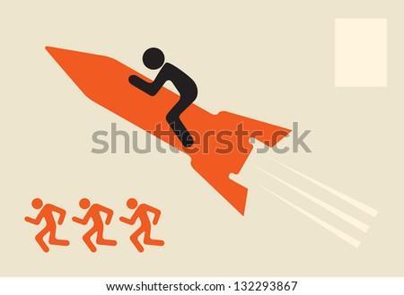 outstrip rivals - man on rocket Stock photo ©