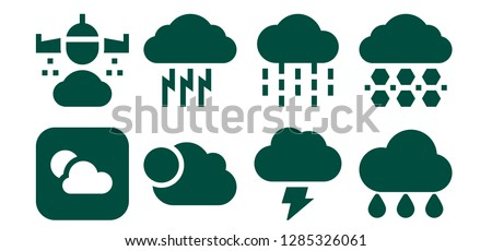 overcast icon set. 8 filled overcast icons. Simple modern icons about  - Weather, Rain, Cloudy, Storm, Hail