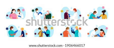Сovid-19 mass vaccination. Set of people of different age, race, gender receiving vaccine. Doctors and nurses with syringe in hand. Kids vaccination. Vector spot illustrations.