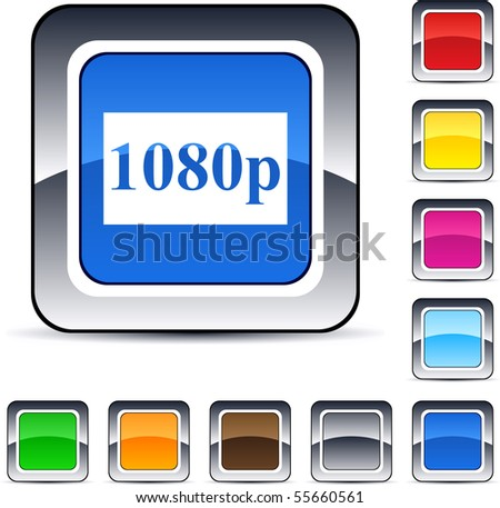 1080p glossy square web buttons. - stock vector