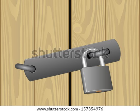 padlocked wooden door