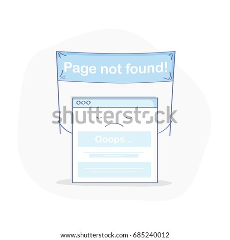 404 page, page not found or error flat line illustration concept. Cute frustrated webpage with flag