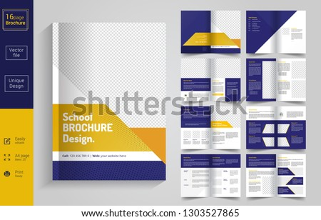 16 Pages  Education Brochure with modern abstract design. Use for Scholl,College,University, marketing,print, annual report and business presentations and Multi Purpose. - Vector