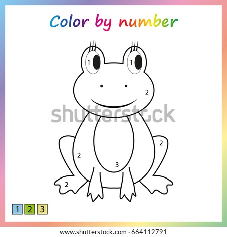 painting page, color by numbers. Worksheet for education. Game for preschool kids.