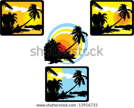 4 palm beach scene vector